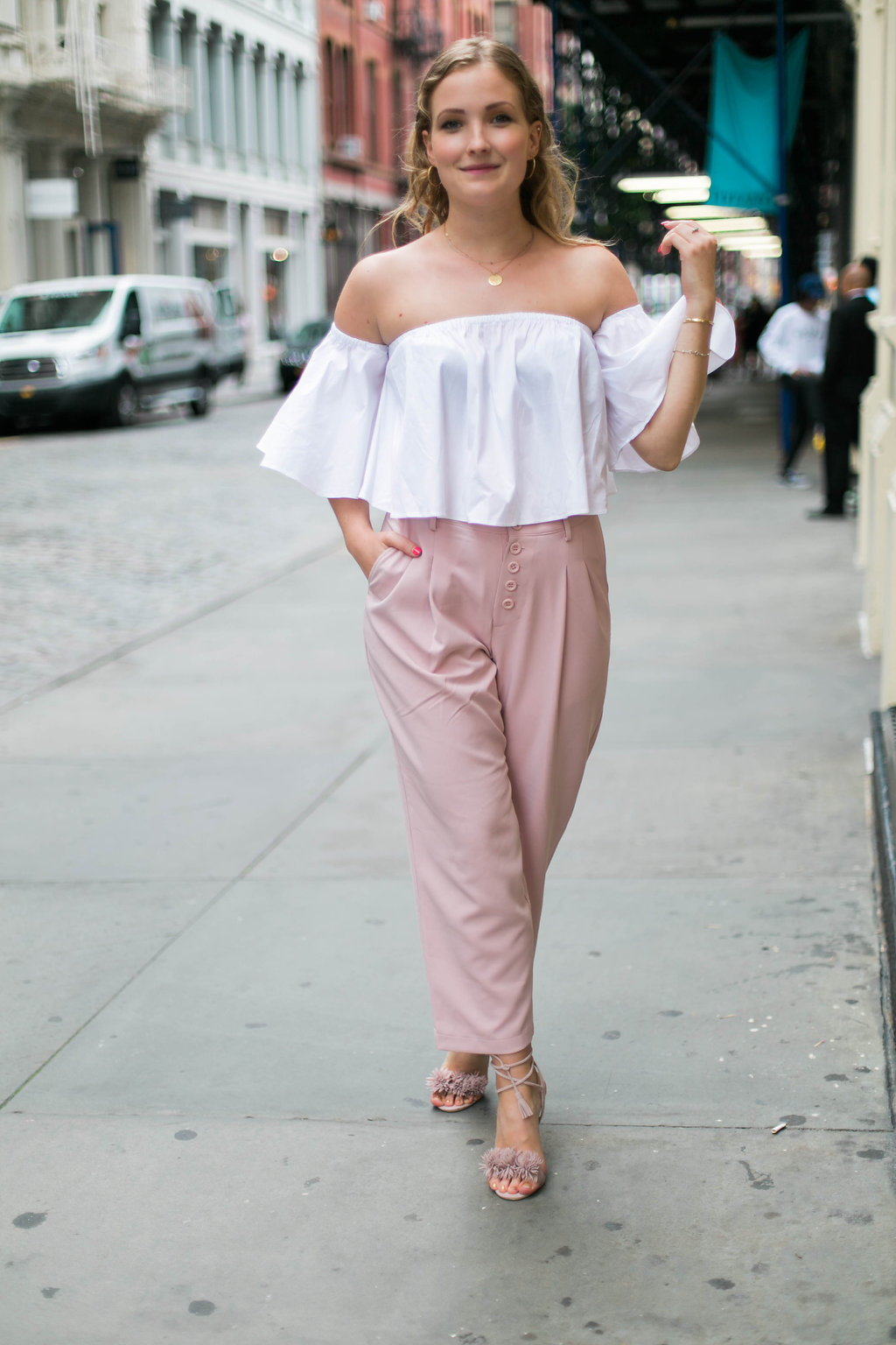 Off the shoulder top and pink pants