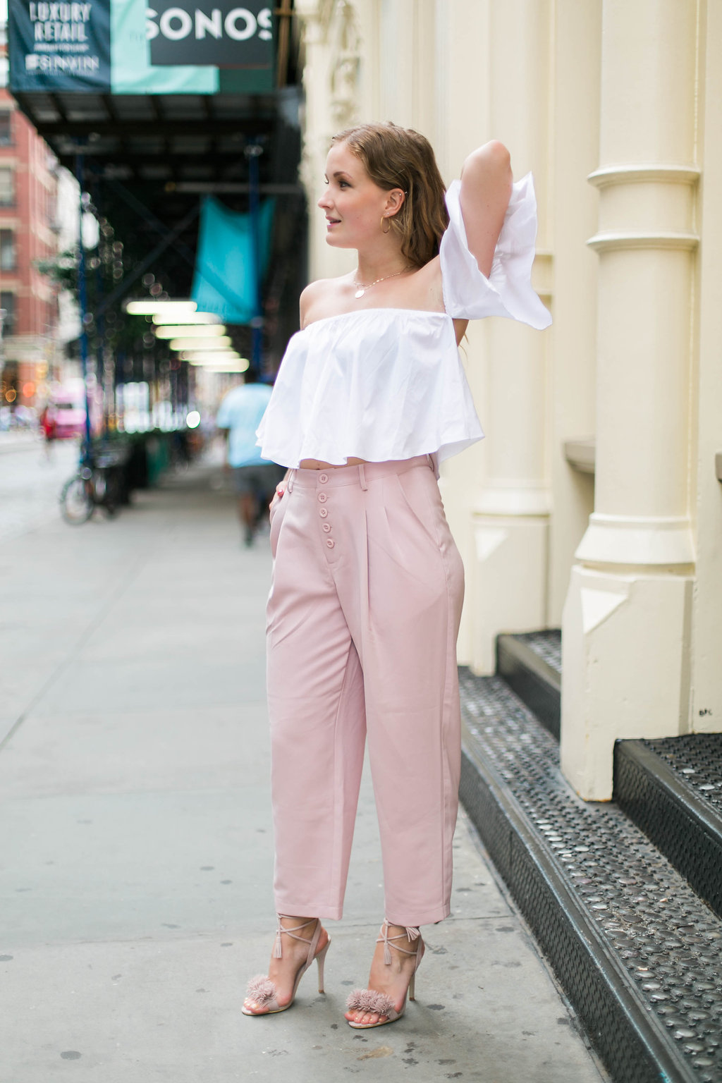 Pink tassel high heels