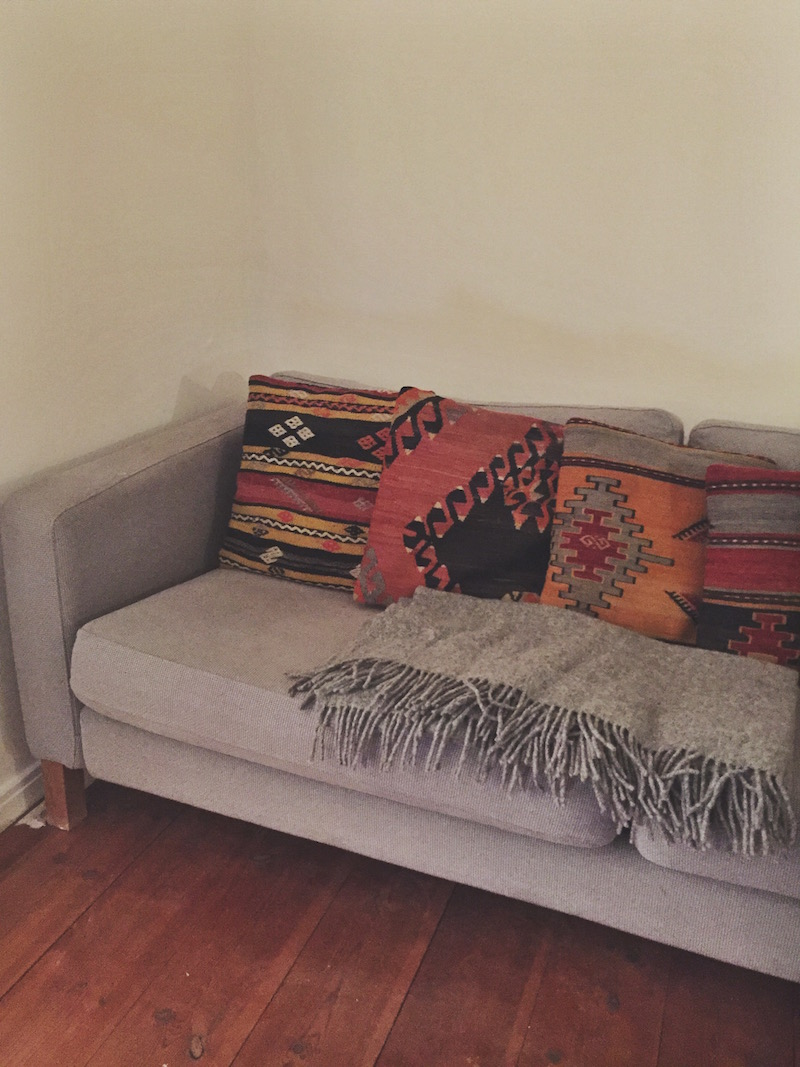 Couch and kilim pillows