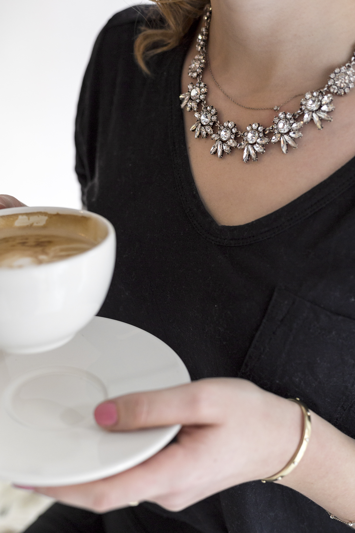 Coffee and beautiful necklace from HappyBoutique