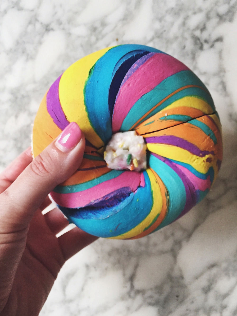 things you have to eat in New York City - rainbow bagel