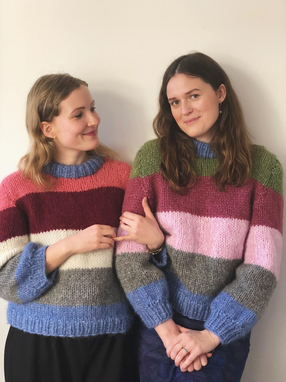 Ganni inspireret sweater med striber
